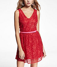 Express LACE DOUBLE V-NECK FIT AND FLAIR DRESS $88