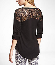 Express ROLLED SLEEVE LACE INSET TEE $34.90